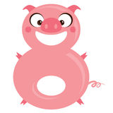 Number 8 funny cartoon smiling pig. Number 8 funny cartoon smiling pink pig royalty free illustration