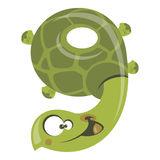 Number 9 funny cartoon smiling turtle. Number 9 funny cartoon smiling green turtle Stock Photo