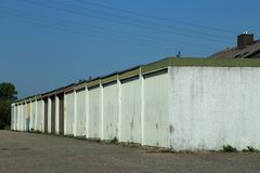 A number of garages. Located on the outskirts of the city royalty free stock photo