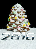 Number 2016 and gingerbread Christmas tree Stock Photo