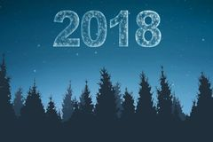 Happy New Year 2018. 2018 number from glowing stars on the sky. Happy New Year 2018 Royalty Free Stock Photography