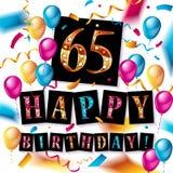 Number 65 gold celebration. Candle on star and glitter background. Vector illustration Stock Illustration
