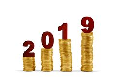 Number 2019 with gold coins. Image of number 2019 above pile of gold coins shaped growth chart, isolated on white background stock photography