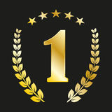 Number 1 in gold color with a laurel wreath and stars Royalty Free Stock Image