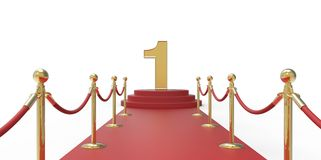 Number 1 gold red carpet VIP way gold fence on white gray background Stock Photography
