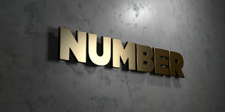 Number - Gold sign mounted on glossy marble wall  - 3D rendered royalty free stock illustration Royalty Free Stock Photography