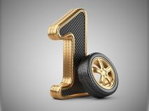 Number 1 from golden car tire. First place in the competition of. Auto racing. Award for victory - winner concept. 3d Illustration over white background Stock Image