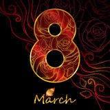Number 8 with golden dotted rose and leaves on the black background with swirls. Stock Photo