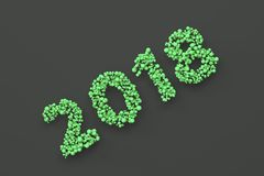 2018 number from green balls on black background. 2018 new year sign. 3D rendering illustration Stock Photography