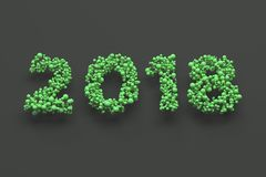 2018 number from green balls on black background. 2018 new year sign. 3D rendering illustration Royalty Free Stock Photos