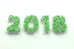 2018 number from green balls on white background. 2018 new year sign. 3D rendering illustration Stock Image