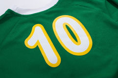 10 number. Number 10 on the green shirt sports stock photo