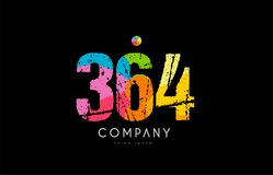 364 number grunge color rainbow numeral digit logo. Number 364 logo icon design with grunge texture and rainbow colored pattern Royalty Free Stock Photography