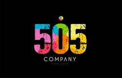 505 number grunge color rainbow numeral digit logo. Number 505 logo icon design with grunge texture and rainbow colored pattern Royalty Free Stock Images