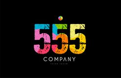 555 number grunge color rainbow numeral digit logo. Number 555 logo icon design with grunge texture and rainbow colored pattern Stock Photography