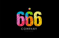 666 number grunge color rainbow numeral digit logo Stock Image