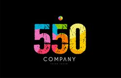 550 number grunge color rainbow numeral digit logo. Number 550 logo icon design with grunge texture and rainbow colored pattern Stock Photo