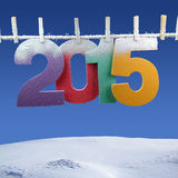Number 2015 hanging on a clothesline Royalty Free Stock Photos