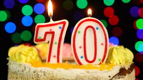 Number 70 Happy Birthday Cake Witg Burning Candles Topper.