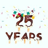 25 number. Happy Birthday greeting card. Vector illustration Royalty Free Stock Image