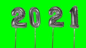 Number 2021 happy new year birthday anniversary celebration silver balloon floating on green screen background - stock video footage