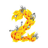 Number 2 hellish flames and sinners font. Fiery lettering two. I. Nfernal fire alphabet. ABC devilish flame of Death Satanic and skeleton Royalty Free Stock Image