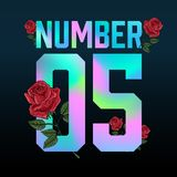 Number 5 Holographic typography and roses, tee shirt graphic, printed design. Vector design for t-shirt printing and embroidery apparel stock illustration