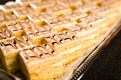 Number of honey cake pieces on tray Stock Image