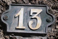 Number 13. House number 13 in the city of Saint Cloud, France Stock Photos