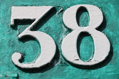 Number 38. House number 38 in the city of Saint Cloud, France Royalty Free Stock Images
