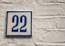 Number 22. A house number plaque with the number 22 Stock Images