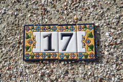 Number 17. A house number plaque with the number 17 Stock Photography