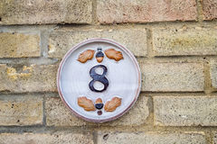 Number 8. A house sign with the number 8 Stock Photos