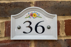 Number 36. A house sign with the number 36 Stock Photos