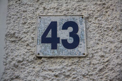 Number 43 Royalty Free Stock Photography