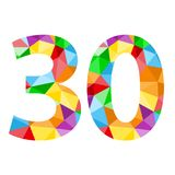 Number 30 icon with colorful polygon pattern. Number 30 icon with seamless pattern of colorful triangles.  Vector.  Rainbow theme Royalty Free Stock Photos