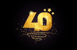 40 number icon design with golden star and glitter. 40 number with star and golden glitter on black background suitable for icon or typography logo design royalty free illustration