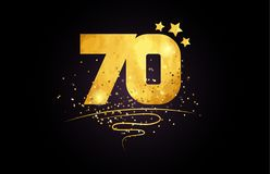 70 number icon design with golden star and glitter. 70 number with star and golden glitter on black background suitable for icon or typography logo design royalty free illustration