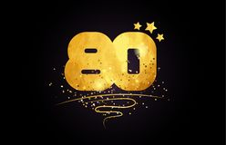 80 number icon design with golden star and glitter. 80 number with star and golden glitter on black background suitable for icon or typography logo design royalty free illustration