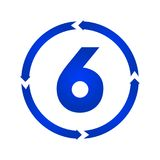 Number 6 icon. Number 6 sign turn icon illustration. flat style Stock Photo