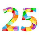 Number 25 icon with colorful polygon pattern. Number 25 icon with seamless pattern of colorful triangles.  Vector.  Rainbow theme Royalty Free Stock Photos