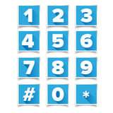 Number icon set square blue. Vector Royalty Free Stock Photos