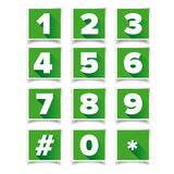 Number icon set square green Royalty Free Stock Photography
