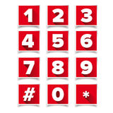 Number icon set square red. Vector Royalty Free Stock Photo