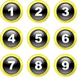 Number icons. Set of number icons on black glossy glass buttons isolated on white Royalty Free Stock Photography