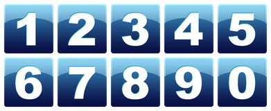 Number icons. Business oriented set of icons with numbers from zero to nine over blue rounded squares Royalty Free Stock Images
