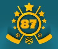 87 number illustration. Classic style Sport Team font. 3D rendering. Golden metallic material. Ice Hockey Emblem Stock Illustration