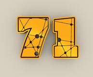 71 number illustration. Classic style Sport Team font. Numbers decorated by lines and dots pattern. 3D rendering. Golden metallic material Stock Illustration