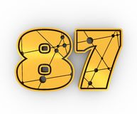 87 number illustration. Classic style Sport Team font. Numbers decorated by lines and dots pattern. 3D rendering. Golden metallic material Royalty Free Illustration