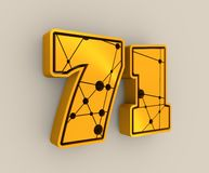 71 number illustration. Classic style Sport Team font. Numbers decorated by lines and dots pattern. 3D rendering. Golden metallic material Stock Photos